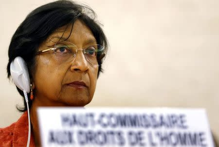 U.N. High Commissioner for Human Rights Pillay looks on after her address to the 26th session of the Human Rights Council at the United Nations in Geneva