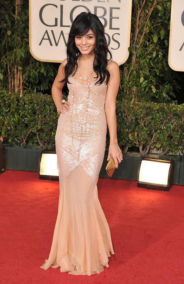 "Vanessa Hudgens (""High School Musical 3"") sparkled in beautiful beaded Alberta Ferretti gown. Steve Granitz/<a href=""http://www.wireimage.com"" target=""new"">WireImage.com</a> - January 11, 2009"