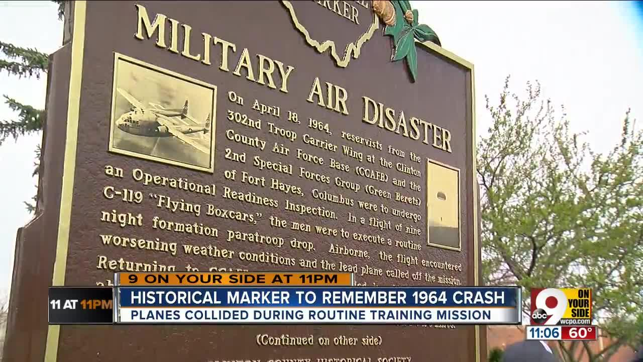 """At 91, Bill Zugelder, the only remaining survivor,  clearly remembers when two military planes collided over Clinton County 54 years ago.  """"I landed by a pig pen. I could hear the pigs rooting in the feeders. I could look over and see the burning wreckage of the other airplane,"""" Zugelder said Sunday at a ceremony to dedicate a plaque at Denver Williams Park.   It was April 18, 1964. Weather conditions were rough, Zugelder said.   """"We were lead ship in a 9-ship formation - 3, 3, and 3,"""" Zugelder said     """"He said, 'Don't lose sight of that light.' At that point, we should've just peeled off,"""" Zugelder said.   But they didn't. And his plane – a C-119 Flying Boxcar - collided with another in mid-air. Just like that , 17 lives – 11 officers and six enlisted men – were lost."""