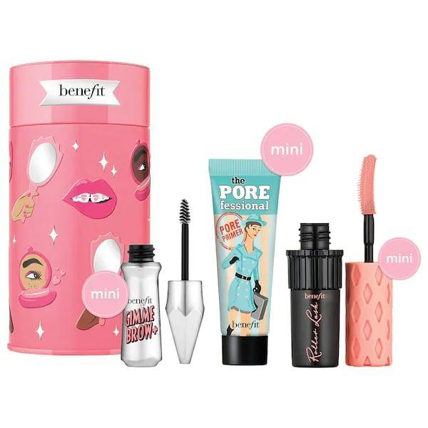 <p>There are three icons stashed in a cute, reusable tin with this <span>Benefit Cosmetics Beauty Thrills Eyes, Brows and Face Mini Holiday Value Set</span> ($20). Get brows sorted, lashes lengthened, <em>and</em> pores minimized with each mini goodie inside.</p>