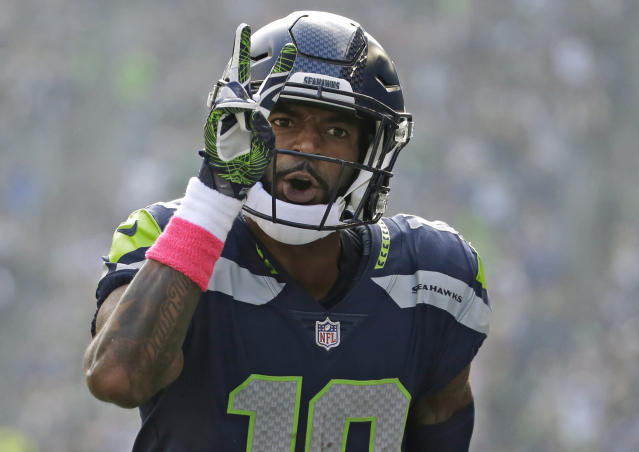 FILE - In this Oct. 29, 2017, file photo, Seattle Seahawks wide receiver Paul Richardson celebrates in the first half of an NFL football game after scoring his second touchdown against the Houston Texans, in Seattle. The Washington Redskins have signed former Seattle Seahawks wide receiver Paul Richardson. The team announced the deal Thursday, March 15, 2018, about 20 hours into NFL free agency.(AP Photo/Elaine Thompson, File)