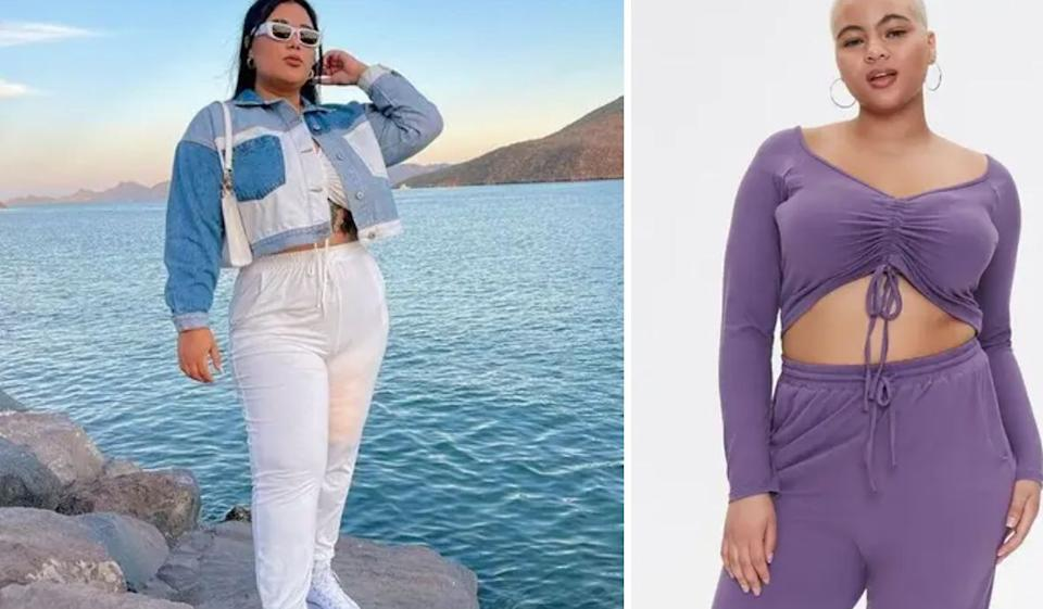 """This will quickly become your WFH uniform. It comes in five different colors, meaning you can wear one every day of the (work) week.<br /><br /><strong>Promising review</strong>: """"I got a 3X and honestly it has plenty stretch — I could have gotten a 1X — but I love it so much still...<strong>I have three sets :)</strong>"""" —<a href=""""https://go.skimresources.com?id=38395X987171&xs=1&url=https%3A%2F%2Fwww.forever21.com%2Fus%2F2000426930.html&xcust=HPClothesMultipleColors60a27070e4b063dcceac389d"""" target=""""_blank"""" rel=""""nofollow noopener noreferrer"""" data-skimlinks-tracking=""""5876227"""" data-vars-affiliate=""""CJ"""" data-vars-campaign=""""MultipleColorsStuart-2-23-21-5876227/https://www.forever21.com/us/2000426930.html"""" data-vars-href=""""https://www.anrdoezrs.net/links/8209452/type/dlg/sid/MultipleColorsStuart-2-23-21-5876227/https://www.forever21.com/us/2000426930.html"""" data-vars-keywords=""""fast fashion"""" data-vars-link-id=""""16400683"""" data-vars-price="""""""" data-vars-product-id=""""20980701"""" data-vars-product-img=""""https://www.forever21.com/dw/image/v2/BFKH_PRD/on/demandware.static/-/Sites-f21-master-catalog/default/dw5788ae9b/4_full_750/00426930-01.jpg?sw=500&sh=750"""" data-vars-product-title=""""Plus Size Ruched Crop Top & Sweatpants Set"""" data-vars-redirecturl=""""https://www.forever21.com/us/2000426930.html"""" data-vars-retailers=""""Forever 21"""" data-ml-dynamic=""""true"""" data-ml-dynamic-type=""""sl"""" data-orig-url=""""https://www.anrdoezrs.net/links/8209452/type/dlg/sid/MultipleColorsStuart-2-23-21-5876227/https://www.forever21.com/us/2000426930.html"""" data-ml-id=""""21"""">vicki w.</a><br /><br /><strong><a href=""""https://go.skimresources.com?id=38395X987171&xs=1&url=https%3A%2F%2Fwww.forever21.com%2Fus%2F2000426930.html&xcust=HPClothesMultipleColors60a27070e4b063dcceac389d"""" target=""""_blank"""" rel=""""noopener noreferrer"""">Get it from Forever 21 for$15(originally $25; available in sizes 1X-3X and in five colors).</a></strong>"""