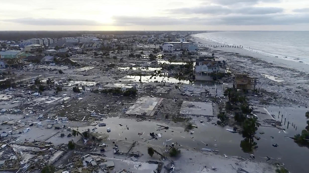 In this image made from video and provided by SevereStudios.com, damage from Hurricane Michael is seen in Mexico Beach, Fla. on Thursday, Oct. 11, 2018. (SevereStudios.com via AP)