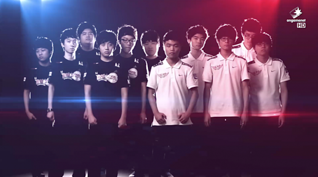 The KT Rolster Bullets and SK Telecom T1 in the 2013 Champions Summer Finals (OnGameNet/Twitch)