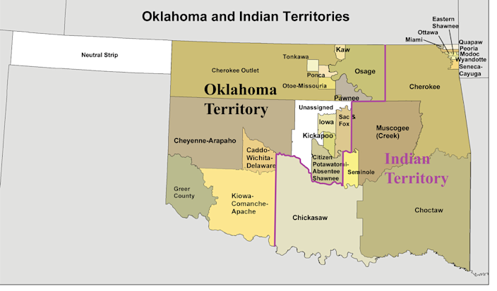 """<span class=""""caption"""">The eastern part of Oklahoma, about half of the state's total land, was granted by Congress to Native American tribes in the 19th century, and is still under tribal sovereignty, the Supreme Court has ruled.</span> <span class=""""attribution""""><a class=""""link rapid-noclick-resp"""" href=""""https://commons.wikimedia.org/wiki/File:Okterritory.png"""" rel=""""nofollow noopener"""" target=""""_blank"""" data-ylk=""""slk:Kmusser, based on 1890s data/Wikimedia Commons"""">Kmusser, based on 1890s data/Wikimedia Commons</a>, <a class=""""link rapid-noclick-resp"""" href=""""http://creativecommons.org/licenses/by-sa/4.0/"""" rel=""""nofollow noopener"""" target=""""_blank"""" data-ylk=""""slk:CC BY-SA"""">CC BY-SA</a></span>"""