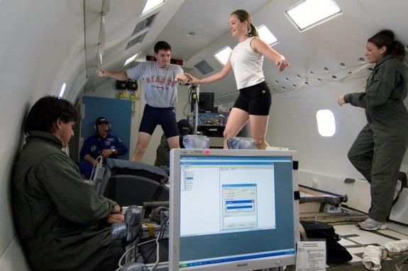 Volunteers walk and run during moon gravity mobility tests on a parabolic flight as part of a new study.