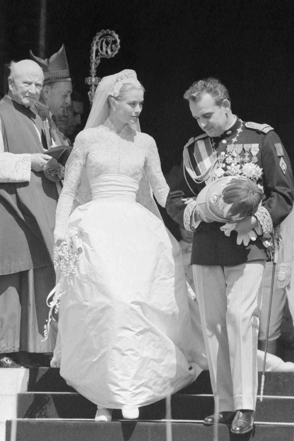 """<p>Prince Rainier III already stood close in height to his fiancee, so the bride wore just 2½-inch heels. <a href=""""http://www.philamuseum.org/collections/permanent/56623.html?mulR=488651013