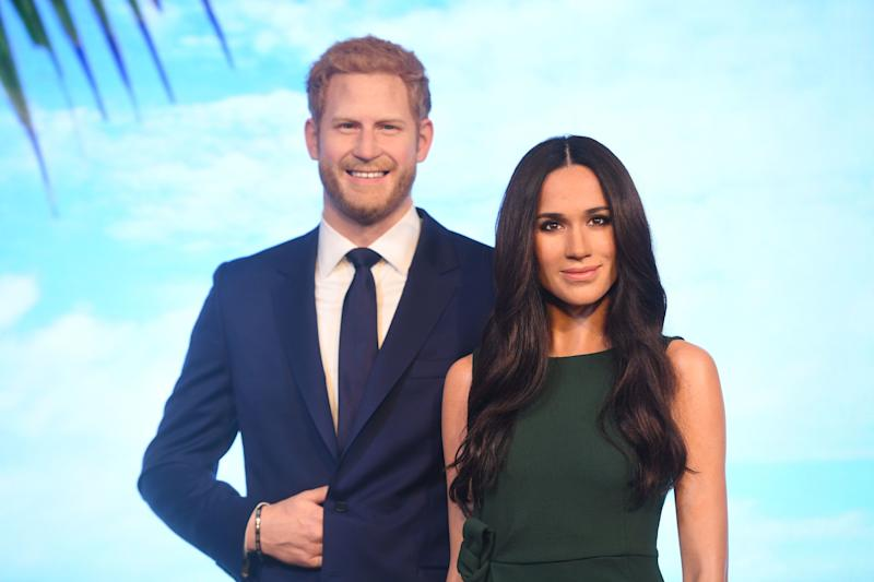 Prince Harry and Meghan Markle's waxworks in Madame Tussauds London. [Photo: PA]