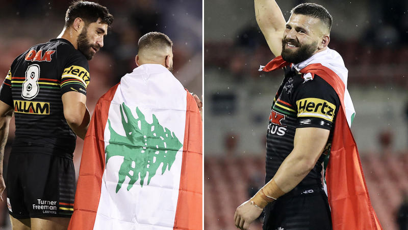 Josh Mansour, pictured here proudly displaying a Lebanese flag.