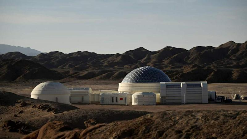 The Mars C-Space Project in the Gobi desert stretches 40 kilometres wide, and is surrounded by barren hills in northwest Ghansu. It was opened to the public on April 17 with the aim of exposing teens €