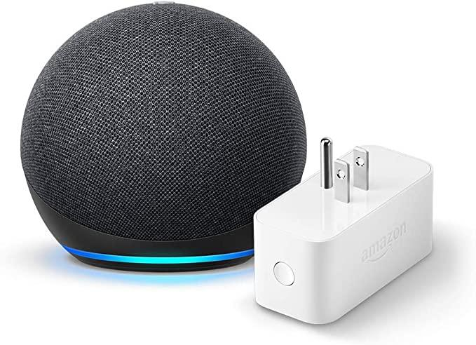 Echo Dot (4th gen.), Charcoal with Amazon Smart Plug. Image via Amazon.