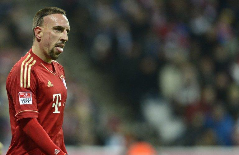 Bayern Munich's Franck Ribery reacts during a match against Schalke 04 in Munich, on February 9, 2013