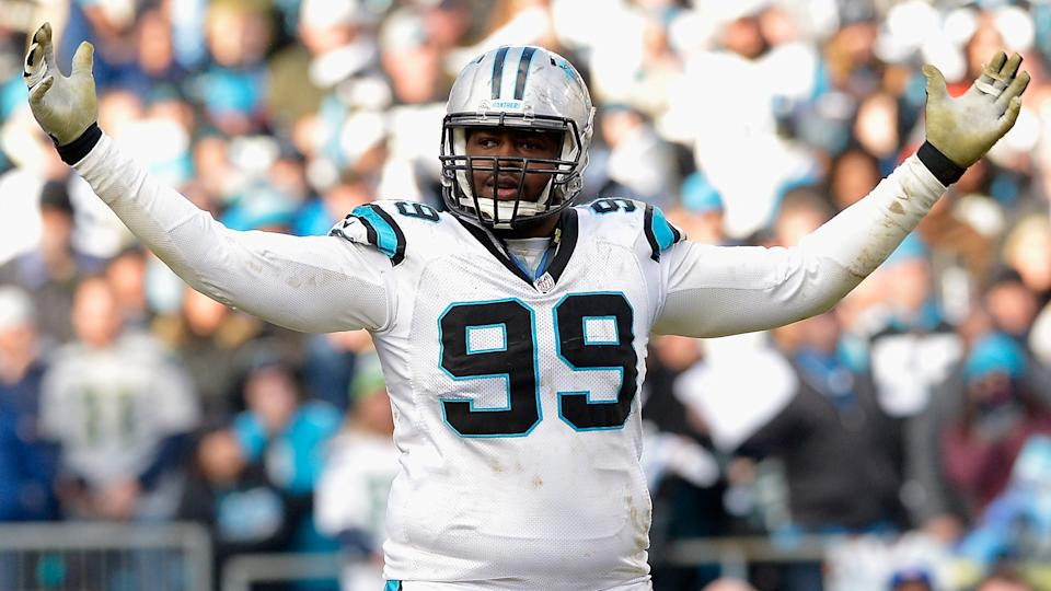 CHARLOTTE, NC - JANUARY 17:  Kawann Short #99 of the Carolina Panthers reacts after defeating the Seattle Seahawks 31-24 at the NFC Divisional Playoff Game at Bank of America Stadium on January 17, 2016 in Charlotte, North Carolina.