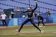 United States' Monica Abbott pitches in the seventh inning of a softball game against Japan at the 2020 Summer Olympics, Monday, July 26, 2021, in Yokohama, Japan. (AP Photo/Sue Ogrocki)