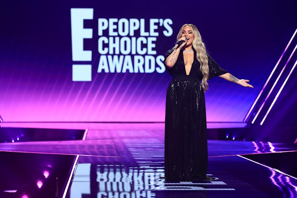 SANTA MONICA, CALIFORNIA - NOVEMBER 15: 2020 E! PEOPLE'S CHOICE AWARDS -- In this image released on November 15, Demi Lovato speaks onstage for the 2020 E! People's Choice Awards held at the Barker Hangar in Santa Monica, California and on broadcast on Sunday, November 15, 2020. (Photo by Christopher Polk/E! Entertainment/NBCU Photo Bank via Getty Images)