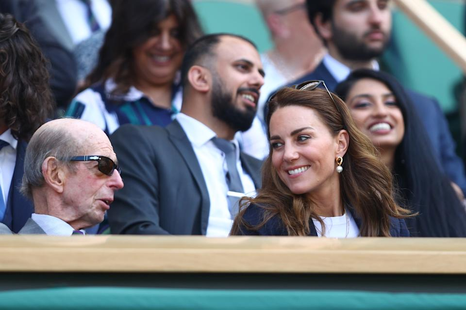 LONDON, ENGLAND - JULY 02: HRH Catherine, The Duchess of Cambridge, Patron of the All England Lawn Tennis Club watches on from Centre Court during Day Five of The Championships - Wimbledon 2021 at All England Lawn Tennis and Croquet Club on July 02, 2021 in London, England. (Photo by Julian Finney/Getty Images)
