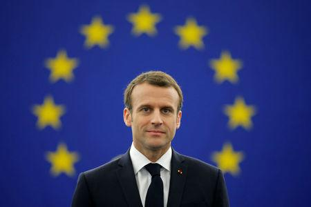 French President Emmanuel Macron arrives to deliver a speech before a debate on the Future of Europe at the European Parliament in Strasbourg