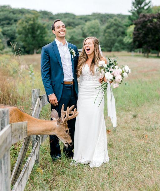 PHOTO: Morgan and Luke Mackley were surprised by a deer while their wedding photos were being taken. (Laurenda Marie Photography)