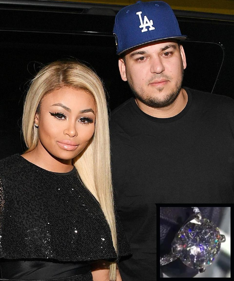 """<p>Rob Kardashian proposed to his girlfriend Blac Chyna on April 4, 2016 with a seven-karat <a rel=""""nofollow noopener"""" href=""""http://www.instyle.com/news/rob-kardashian-blac-chyna-engagement-ring-details"""" target=""""_blank"""" data-ylk=""""slk:diamond ring"""" class=""""link rapid-noclick-resp"""">diamond ring</a> designed by jeweler and friend of the groom-to-be, Ben Baller.</p>"""
