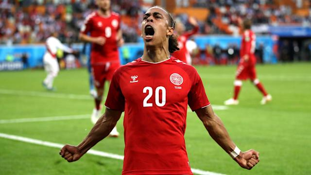 <p>In the lead: Yussuf Yurary Poulsen celebrate his goal which put Denmark ahead. (AP) </p>
