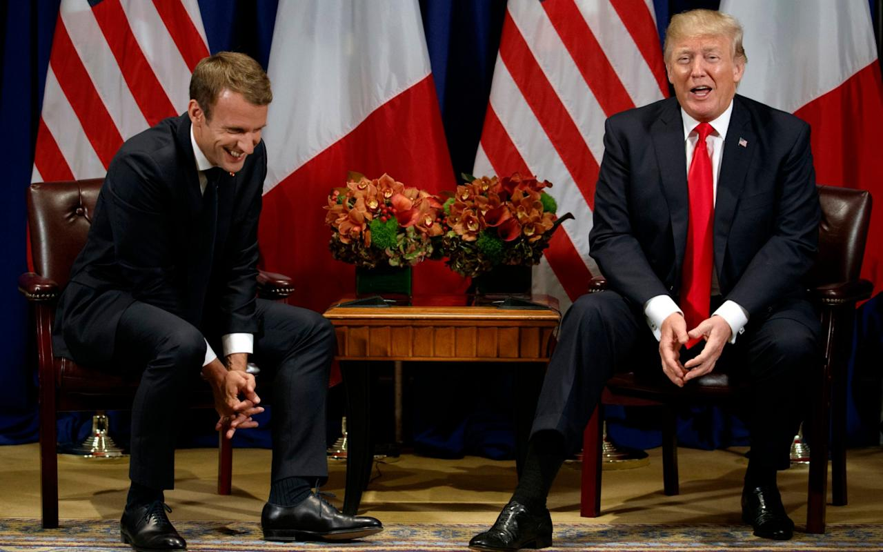 "US President Donald Trump on Monday revealed plans to transform America's Independence Day celebrations next July 4 into a vast military parade, styled on France's Bastille Day. ""We're actually thinking about Fourth of July, Pennsylvania Avenue, having a really great parade to show our military strength,"" Trump said at the start of a meeting with French President Emmanuel Macron on the margins of the UN General Assembly in New York. During brief remarks, Trump raved about his visit to Paris last July 14 - which featured military fly overs, parades of horse guards, assorted tanks and other military hardware. France's president Emmanuel Macron (L) laughs with US President Donald Trump before a meeting at the Palace Hotel during the 72nd session of the United Nations General Assembly on September 18, 2017, in New York Credit: AFP ""To a large extent, because of what I witnessed we may do something like that on July Fourth in Washington down Pennsylvania Avenue,"" said Trump, indicating he had discussed the event with White House chief of staff John Kelly. ""We had a lot of planes going over, and we had a lot of military might and it was really a beautiful thing to see,"" he said. ""We're going to have to try and top it."" ""We'll see if we can do it this year, but we certainly will be beginning to do that."" French military band plays Daft Punk medley, leaving Donald Trump bemused 03:12 America's Independence Day is associated with fireworks and barbecues rather than the country's military might. Trump aides, speaking on condition of anonymity, have confirmed that they considered a military parade for his inauguration last January. Since then Trump has embraced military backdrop for several speeches and presidential visits, travelling twice to the USS Ford aircraft carrier. Trump arrives in Paris ahead of Bastille Day celebrations 01:13 Just this week he appeared in front of a B-2 bomber at a military base just outside Washington. This latest plan is sure to fuel criticism from detractors, who allege Trump has struck the type of militaristic tone more commonly seen in authoritarian regimes."