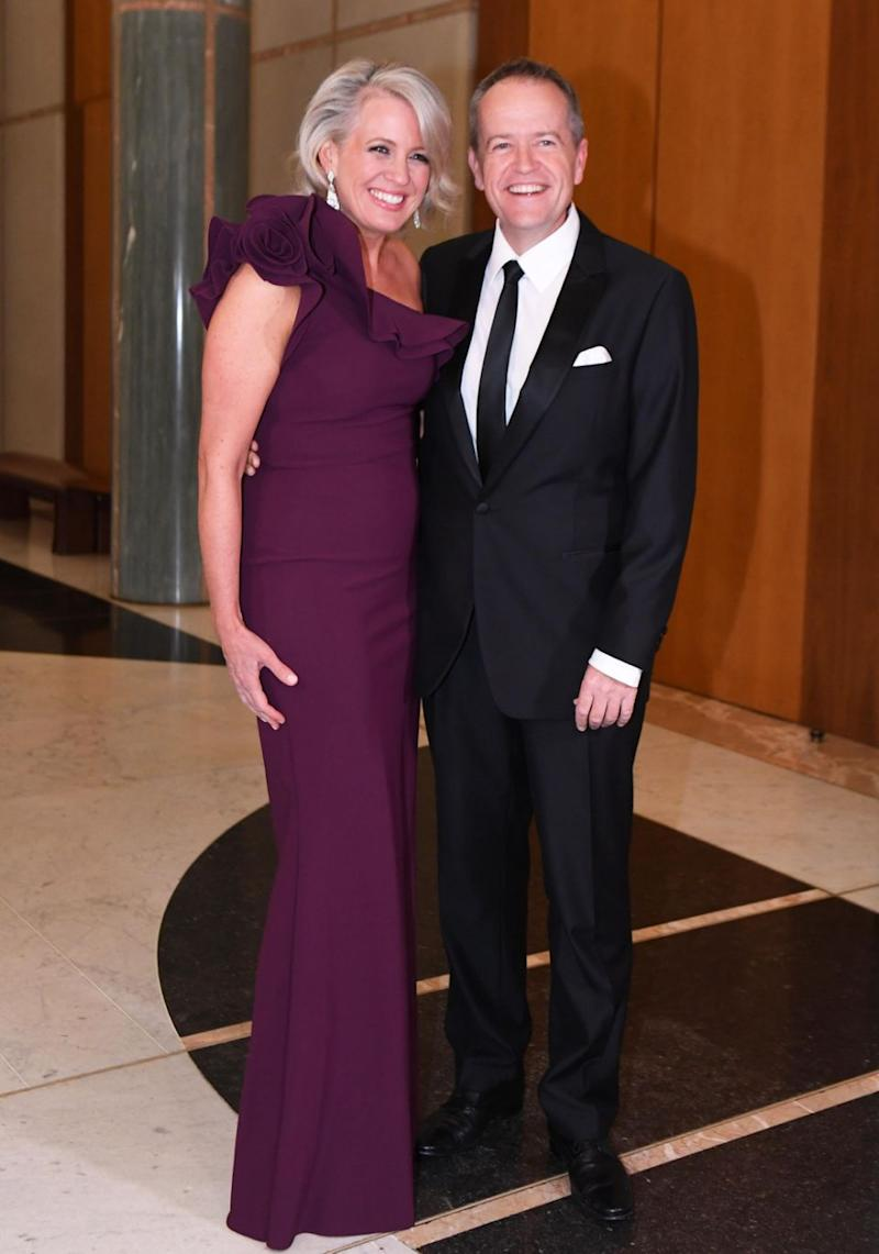 Bill Shorten's wife, Chloe, looked glamorous in a one-shoulder purple gown.. Source: AAP Image