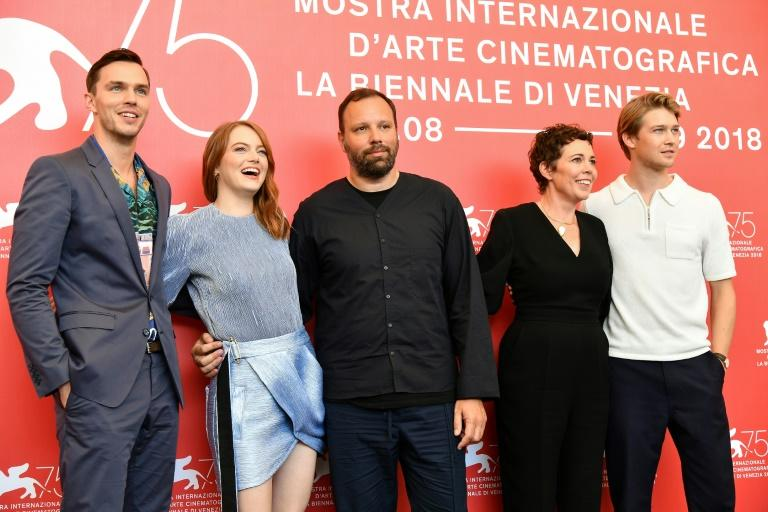 """(From L) Actor Nicolas Hoult, actress Emma Stone, director Yorgos Lanthimos, actress Olivia Colman and actor Joe Alwyn attend a photocall for the film """"The Favourite"""", which has taken the Venice film festival by storm"""