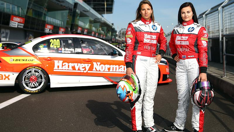 Simona De Silvestro and Renee Gracie, pictured here at the Bathurst 1000 in 2015.