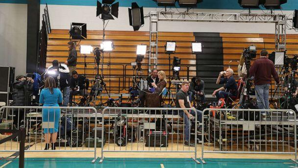 PHOTO: Members of the media work before a planned primary night rally for Democratic presidential candidate former Vice President Joe Biden at the Cuyahoga Community College Recreation Center on March 10, 2020, in Cleveland. (Joe Raedle/Getty Images)