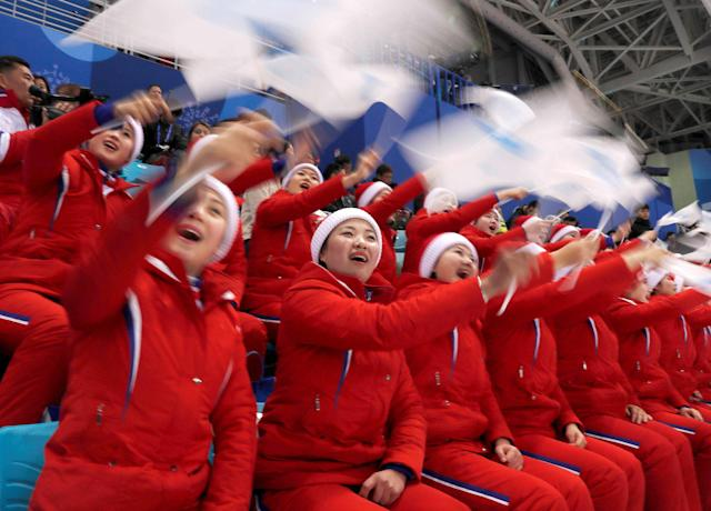 Pyeongchang 2018 Winter Olympics. Fans wave Korean Unification Flags. REUTERS/Grigory Dukor