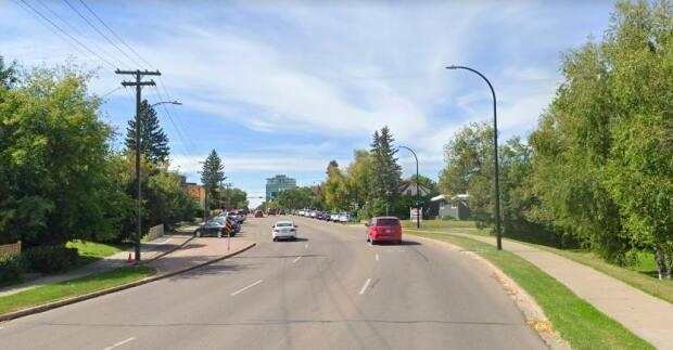 The speeding incident took place March 12 on Ross Street near 46th Avenue in Red Deer. (Google Maps - image credit)