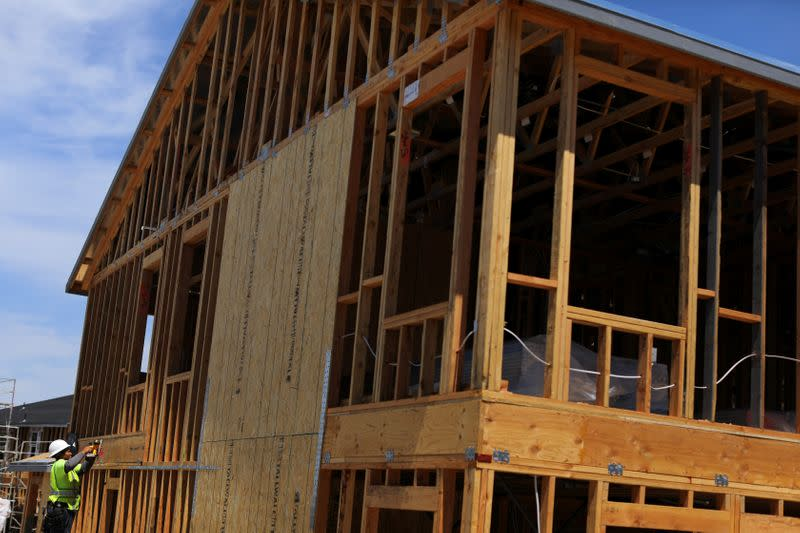 Single family homes being built by KB Homes are shown under construction in San Diego
