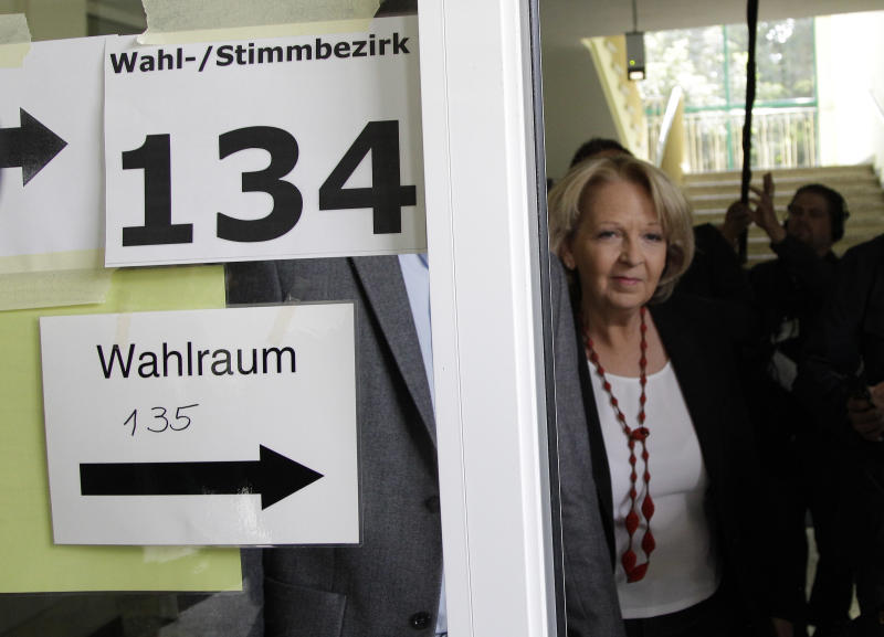 Social Democratic Party top candidate for the state elections of North Rhine-Wesphalia, Hannelore Kraft, leaves after voting at a polling station in Muelheim, Germany, Sunday May 13, 2012. Germany's most populated and industrial state holds parliament elections on Sunday. (AP Photo/Frank Augstein)