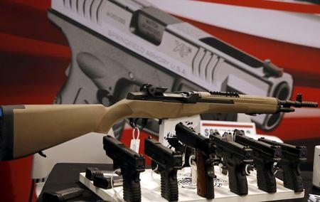 An exhibit booth for firearms manufacturer Springfield Armory is seen on display at the International Association of Chiefs of Police conference in Chicago