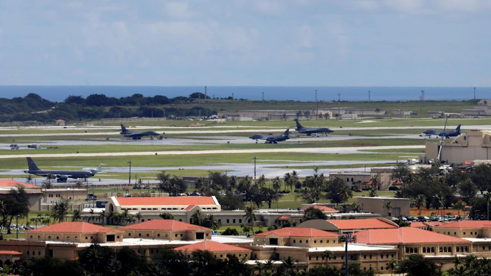 <em>US military planes are seen parked on the tarmac of Andersen Air Force base on the island of Guam (Reuters)</em>