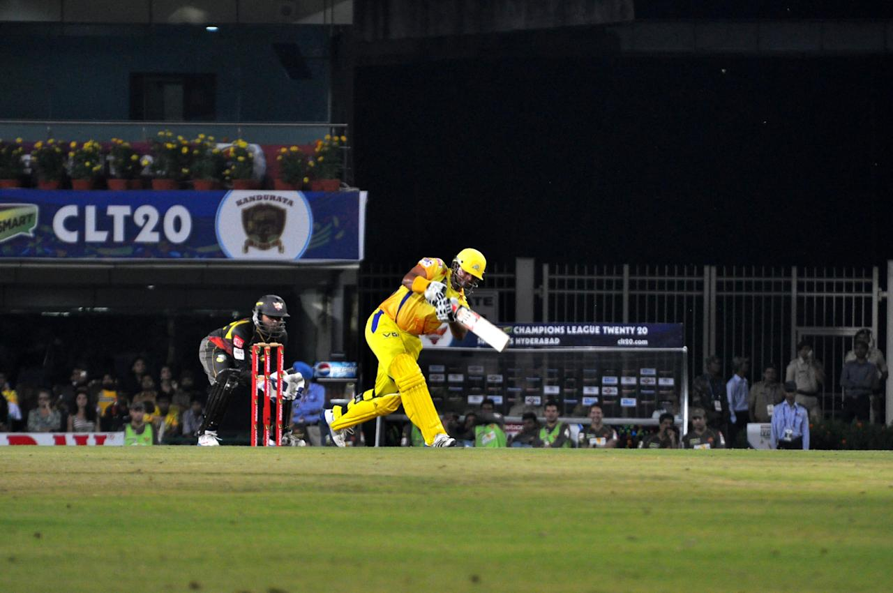 Chennai Super Kings batsman Suresh Raina in action against Hyderabad Sunrisers at Champions League Twenty-20 Match at Jharkhand State Cricket Association (JSCA) International Cricket Stadium in Ranchi on Sept. 26, 2013. (Photo: IANS)