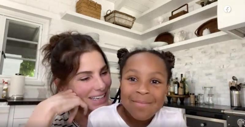 Sandra Bullock and her daughter Laila thank a nurse fighting COVID-19.