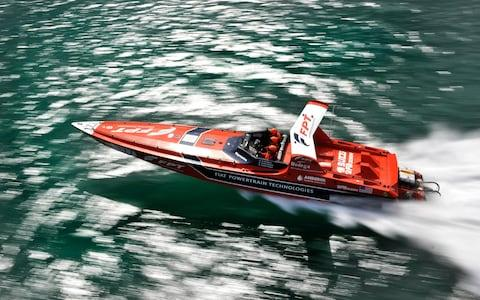 A 46ft-long powerboat built by Fabio Buzzi's company racing at the British Powerboat Festival, 2010 - Credit: David Ashdown/Hulton Archive