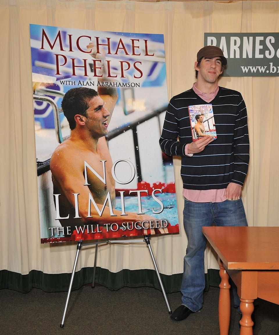 """<p>Phelps put pen to paper following the 2008 Summer Olympics and released his first autobiography, <em><a href=""""https://www.amazon.com/No-Limits-Succeed-Michael-Phelps/dp/1439157669?tag=syn-yahoo-20&ascsubtag=%5Bartid%7C10063.g.37608931%5Bsrc%7Cyahoo-us"""" rel=""""nofollow noopener"""" target=""""_blank"""" data-ylk=""""slk:No Limits: The Will to Succeed"""" class=""""link rapid-noclick-resp"""">No Limits: The Will to Succeed</a></em>. It wasn't until eight years later that the Olympian would release a second book, including his memories from the 2016 Summer Olympics. </p>"""