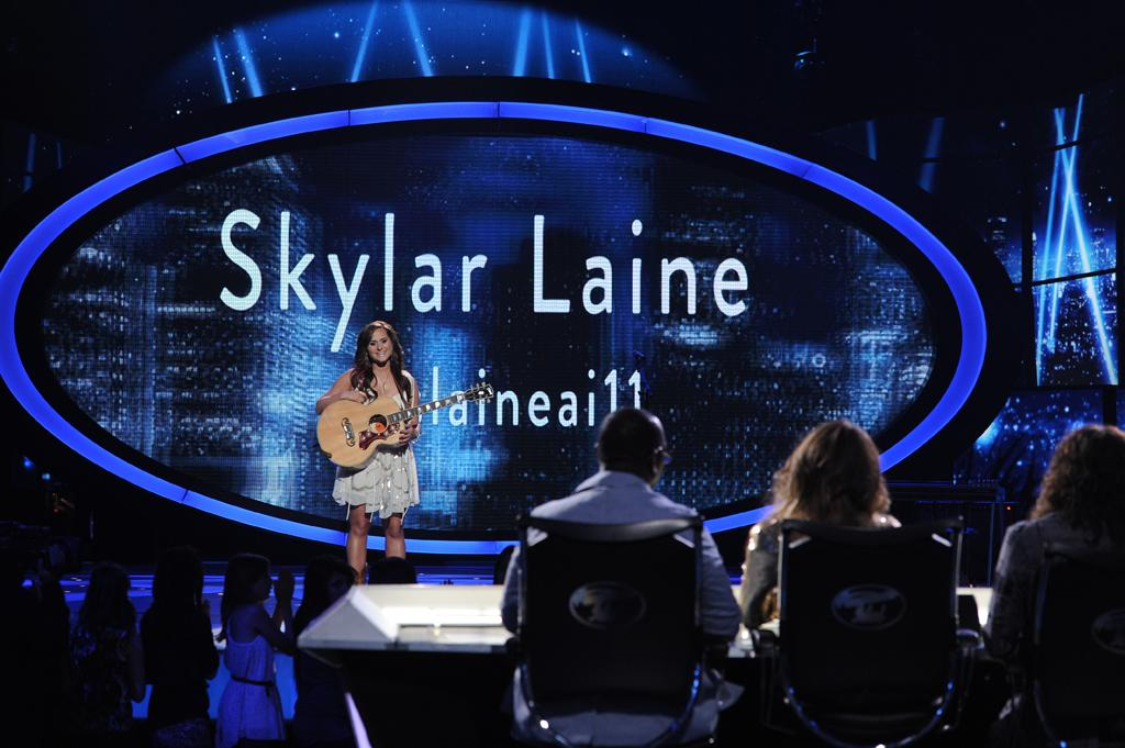 "Skylar Laine performs ""Tattoos on This Town"" by Jason Aldean on ""<a target=""_blank"" href=""http://tv.yahoo.com/american-idol/show/34934"">American Idol</a>."""