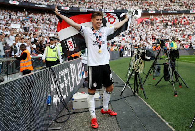 "Soccer Football - Championship Play-Off Final - Fulham vs Aston Villa - Wembley Stadium, London, Britain - May 26, 2018 Fulham's Tom Cairney celebrates promotion to the Premier League Action Images via Reuters/Carl Recine EDITORIAL USE ONLY. No use with unauthorized audio, video, data, fixture lists, club/league logos or ""live"" services. Online in-match use limited to 75 images, no video emulation. No use in betting, games or single club/league/player publications. Please contact your account representative for further details."