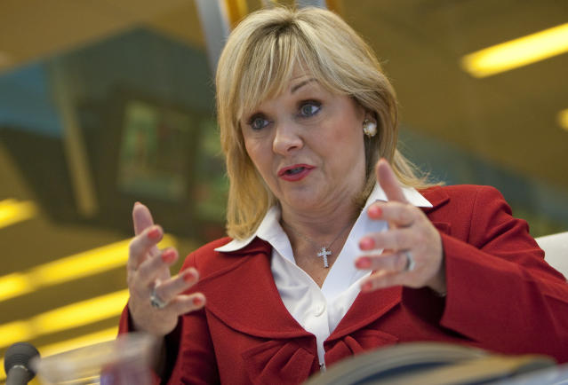 Oklahoma Gov. Mary Fallin(R), pictured here in 2011, speaks during an interview in New York. (Bloomberg via Getty Images)