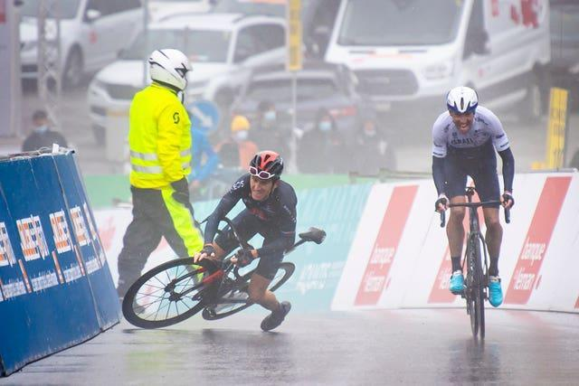 Geraint Thomas crashes within sight of the finish line on the penultimate stage of the Tour de Romandie. He claimed victory in the race on Sunday