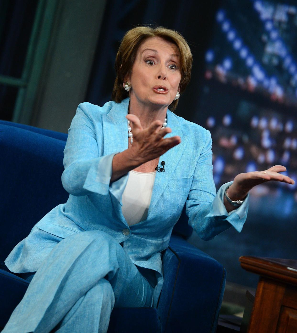 Congresswoman Nancy Pelosi visits 'Late Night With Jimmy Fallon' at Rockefeller Center on August 17, 2012 in New York City. (Photo by Jason Kempin/Getty Images)