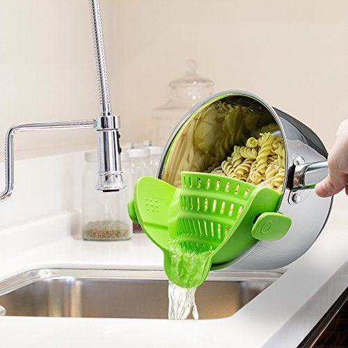 """<p><strong>Kitchen Gizmo</strong></p><p>amazon.com</p><p><strong>$14.49</strong></p><p><a href=""""https://www.amazon.com/dp/B018W9JII0?tag=syn-yahoo-20&ascsubtag=%5Bartid%7C2089.g.1764%5Bsrc%7Cyahoo-us"""" rel=""""nofollow noopener"""" target=""""_blank"""" data-ylk=""""slk:Shop Now"""" class=""""link rapid-noclick-resp"""">Shop Now</a></p><p>Strain your pasta with ease using this gadget that clips on to the side of your pot, eliminating the need for those bulky bowl strainers that never fit into the sink or your cabinet properly. </p>"""