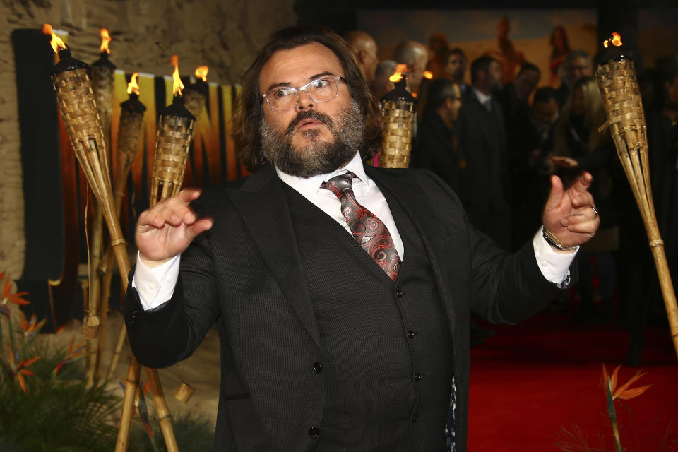 Actor Jack Black poses for photographers upon arrival at the premiere of the film 'Jumanji The Next Level', in central London, Thursday, Dec. 5, 2019. (Photo by Joel C Ryan/Invision/AP)