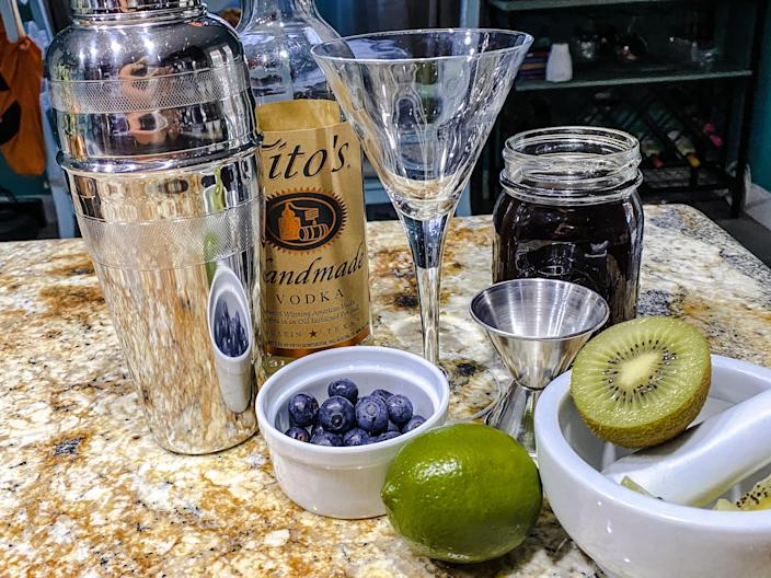 My at-home Baby Yoda cocktail station featured vodka, limes, kiwis, blueberries, demerara syrup and bitters. (Terri Peters)