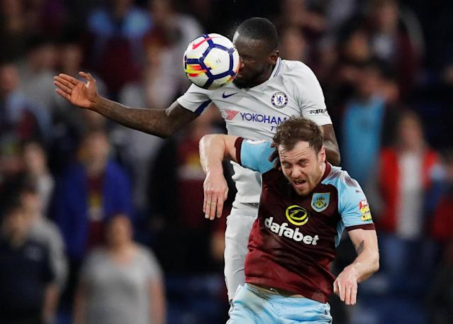 "Soccer Football - Premier League - Burnley vs Chelsea - Turf Moor, Burnley, Britain - April 19, 2018 Chelsea's Antonio Rudiger in action with Burnley's Ashley Barnes Action Images via Reuters/Andrew Boyers EDITORIAL USE ONLY. No use with unauthorized audio, video, data, fixture lists, club/league logos or ""live"" services. Online in-match use limited to 75 images, no video emulation. No use in betting, games or single club/league/player publications. Please contact your account representative for further details."