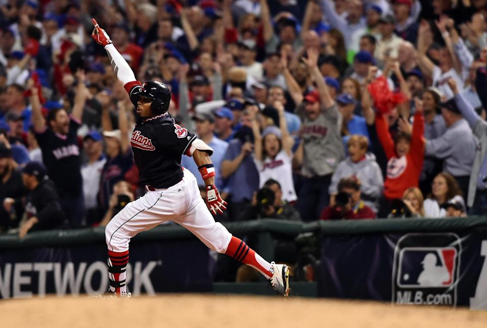 Rajai Davis rounds the bases after his dramatic two-run homer tied Game 7. (USA Today)