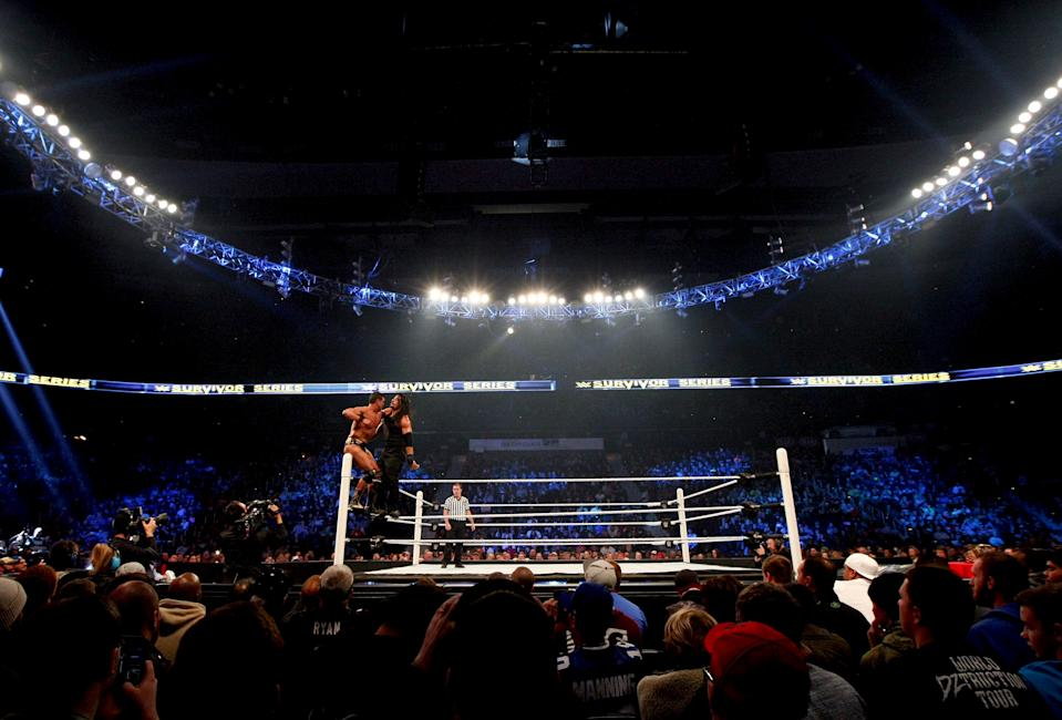 WWE wrestlers Alberto Del Rio (L) and Roman Reigns participate during the WWE Survivor Series, a professional wrestling event at Philips Arena in Atlanta, Georgia November 22, 2015. The Federal Bureau of Investigation said on Saturday (November 21) it did not view a reported threat by Islamic State militants to attack a professional wrestling event in Atlanta this weekend as credible.  REUTERS/Tami Chappell
